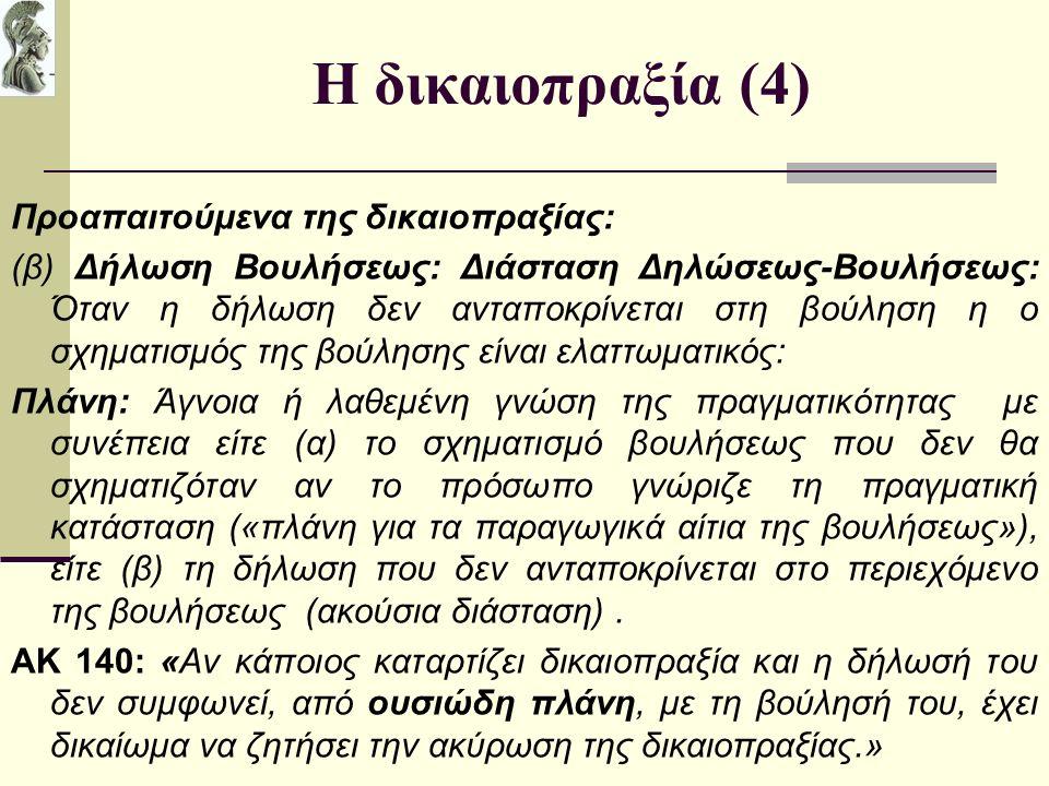 Η δικαιοπραξία (4) Προαπαιτούμενα της δικαιοπραξίας: (β) Δήλωση Βουλήσεως: Διάσταση Δηλώσεως-Βουλήσεως: Όταν η δήλωση δεν ανταποκρίνεται στη βούληση η ο σχηματισμός της βούλησης είναι ελαττωματικός: Πλάνη: Άγνοια ή λαθεμένη γνώση της πραγματικότητας με συνέπεια είτε (α) το σχηματισμό βουλήσεως που δεν θα σχηματιζόταν αν το πρόσωπο γνώριζε τη πραγματική κατάσταση («πλάνη για τα παραγωγικά αίτια της βουλήσεως»), είτε (β) τη δήλωση που δεν ανταποκρίνεται στο περιεχόμενο της βουλήσεως (ακούσια διάσταση).