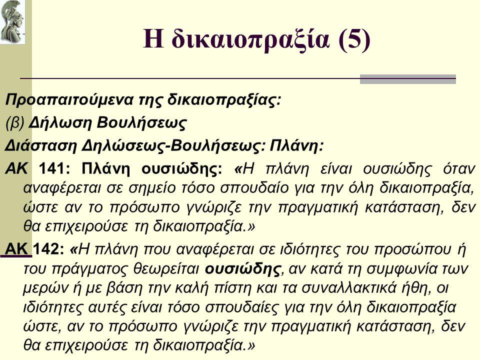 Η δικαιοπραξία (5) Προαπαιτούμενα της δικαιοπραξίας: (β) Δήλωση Βουλήσεως Διάσταση Δηλώσεως-Βουλήσεως: Πλάνη: ΑΚ 141: Πλάνη ουσιώδης: «Η πλάνη είναι ουσιώδης όταν αναφέρεται σε σημείο τόσο σπουδαίο για την όλη δικαιοπραξία, ώστε αν το πρόσωπο γνώριζε την πραγματική κατάσταση, δεν θα επιχειρούσε τη δικαιοπραξία.» ΑΚ 142: «Η πλάνη που αναφέρεται σε ιδιότητες του προσώπου ή του πράγματος θεωρείται ουσιώδης, αν κατά τη συμφωνία των μερών ή με βάση την καλή πίστη και τα συναλλακτικά ήθη, οι ιδιότητες αυτές είναι τόσο σπουδαίες για την όλη δικαιοπραξία ώστε, αν το πρόσωπο γνώριζε την πραγματική κατάσταση, δεν θα επιχειρούσε τη δικαιοπραξία.» [/cut name2= 142 name3= type= 2 ] [cut name2= 143 name3= type= 2 ] Αρθρο 143 Πλάνη ως προς τα παραγωγικά αίτια Εφόσον ο νόμος δεν ορίζει διαφορετικά, πλάνη που αναφέρεται αποκλειστικά στα παραγωγικά αίτια της βούλησης δεν είναι ουσιώδης.