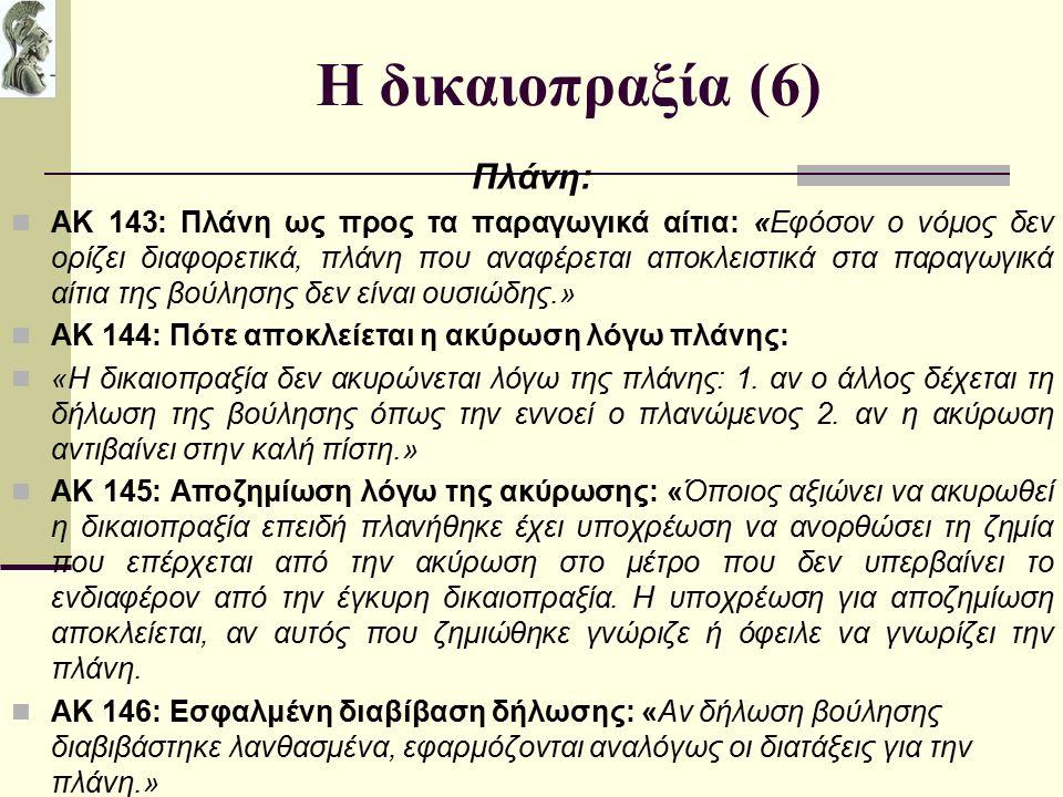 Η δικαιοπραξία (6) Πλάνη: ΑΚ 143: Πλάνη ως προς τα παραγωγικά αίτια: «Εφόσον ο νόμος δεν ορίζει διαφορετικά, πλάνη που αναφέρεται αποκλειστικά στα παραγωγικά αίτια της βούλησης δεν είναι ουσιώδης.» ΑΚ 144: Πότε αποκλείεται η ακύρωση λόγω πλάνης: «Η δικαιοπραξία δεν ακυρώνεται λόγω της πλάνης: 1.
