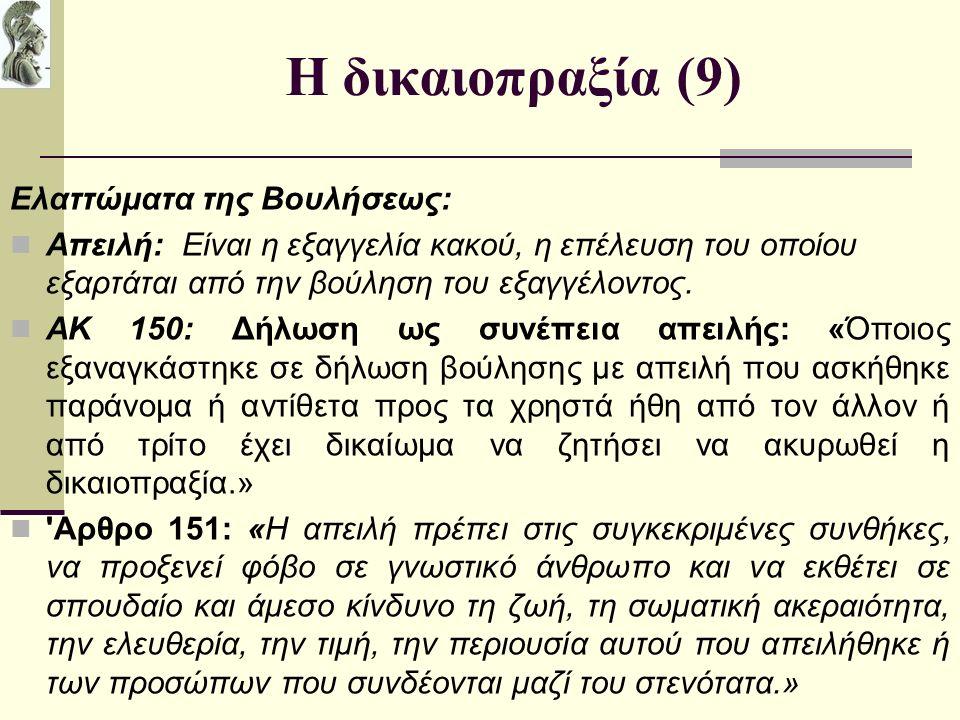 Η δικαιοπραξία (9) Ελαττώματα της Βουλήσεως: Απειλή: Είναι η εξαγγελία κακού, η επέλευση του οποίου εξαρτάται από την βούληση του εξαγγέλοντος.