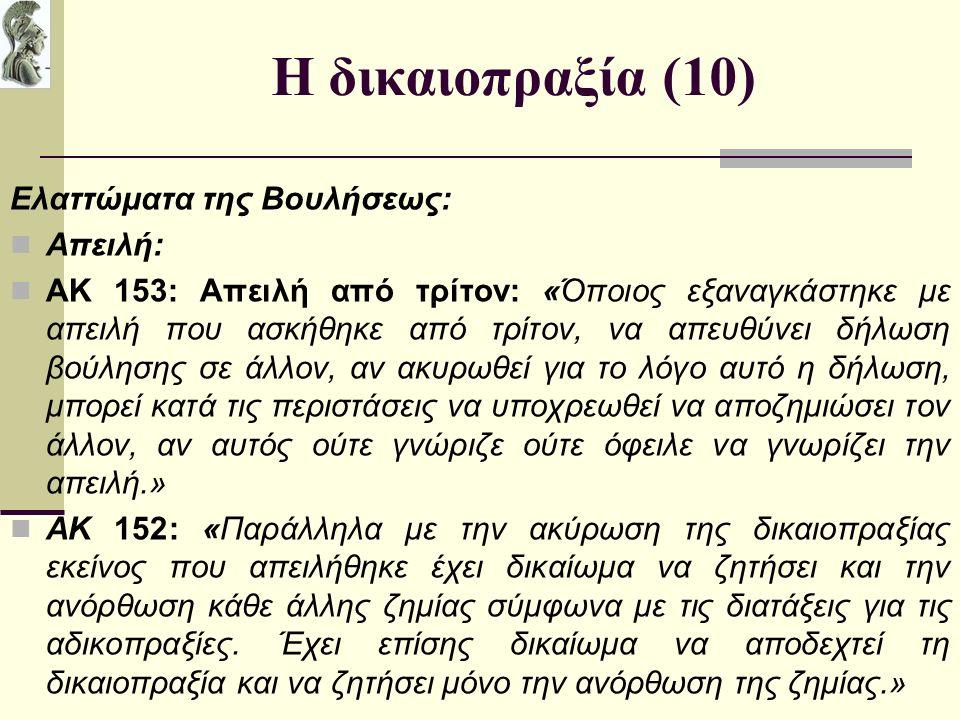 Η δικαιοπραξία (10) Ελαττώματα της Βουλήσεως: Απειλή: ΑΚ 153: Απειλή από τρίτον: «Όποιος εξαναγκάστηκε με απειλή που ασκήθηκε από τρίτον, να απευθύνει δήλωση βούλησης σε άλλον, αν ακυρωθεί για το λόγο αυτό η δήλωση, μπορεί κατά τις περιστάσεις να υποχρεωθεί να αποζημιώσει τον άλλον, αν αυτός ούτε γνώριζε ούτε όφειλε να γνωρίζει την απειλή.» ΑΚ 152: «Παράλληλα με την ακύρωση της δικαιοπραξίας εκείνος που απειλήθηκε έχει δικαίωμα να ζητήσει και την ανόρθωση κάθε άλλης ζημίας σύμφωνα με τις διατάξεις για τις αδικοπραξίες.