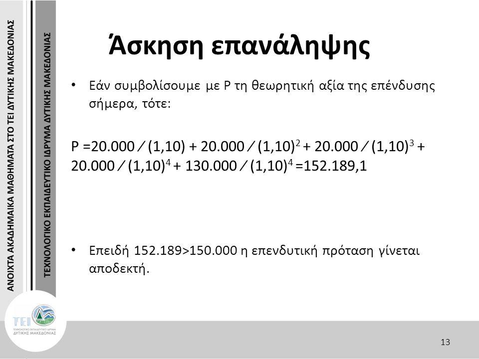 Άσκηση επανάληψης Εάν συμβολίσουμε με P τη θεωρητική αξία της επένδυσης σήμερα, τότε: P =20.000 ∕ (1,10) + 20.000 ∕ (1,10) 2 + 20.000 ∕ (1,10) 3 + 20.000 ∕ (1,10) 4 + 130.000 ∕ (1,10) 4 =152.189,1 Επειδή 152.189>150.000 η επενδυτική πρόταση γίνεται αποδεκτή.