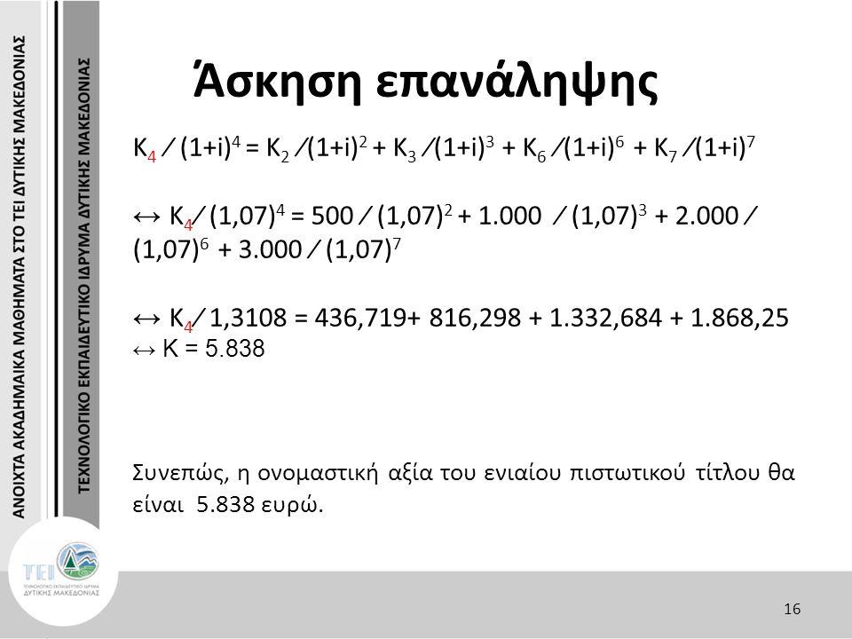 Άσκηση επανάληψης Κ 4 ∕ (1+i) 4 = Κ 2 ∕(1+i) 2 + Κ 3 ∕(1+i) 3 + Κ 6 ∕(1+i) 6 + Κ 7 ∕(1+i) 7 ↔ Κ 4 ∕ (1,07) 4 = 500 ∕ (1,07) 2 + 1.000 ∕ (1,07) 3 + 2.000 ∕ (1,07) 6 + 3.000 ∕ (1,07) 7 ↔ Κ 4 ∕ 1,3108 = 436,719+ 816,298 + 1.332,684 + 1.868,25 ↔ Κ = 5.838 Συνεπώς, η ονομαστική αξία του ενιαίου πιστωτικού τίτλου θα είναι 5.838 ευρώ.