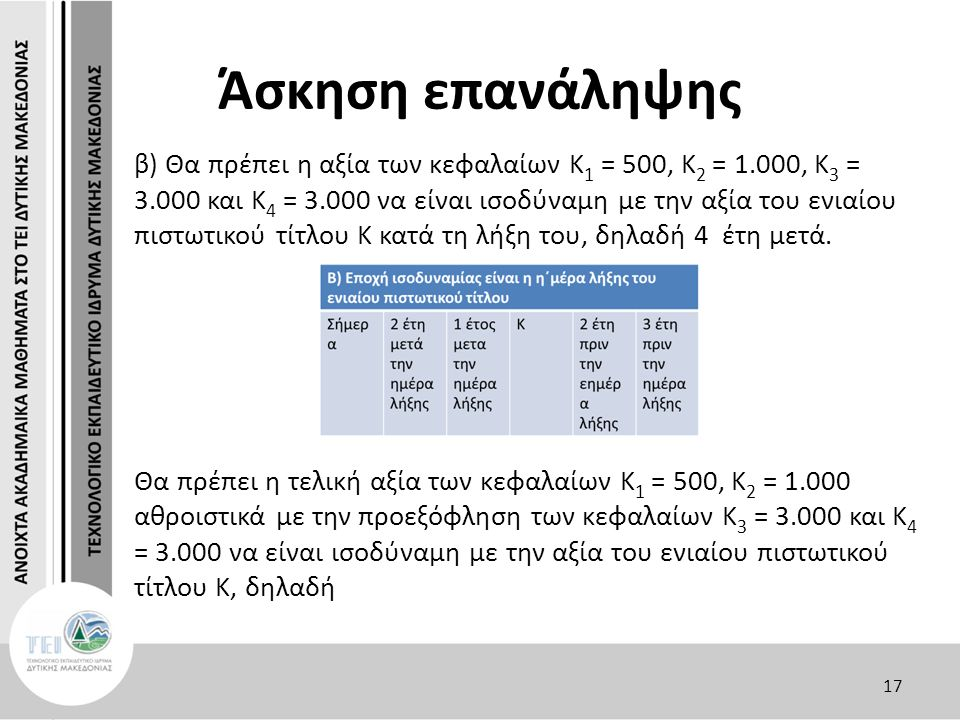 Άσκηση επανάληψης β) Θα πρέπει η αξία των κεφαλαίων Κ 1 = 500, Κ 2 = 1.000, Κ 3 = 3.000 και Κ 4 = 3.000 να είναι ισοδύναμη με την αξία του ενιαίου πιστωτικού τίτλου Κ κατά τη λήξη του, δηλαδή 4 έτη μετά.