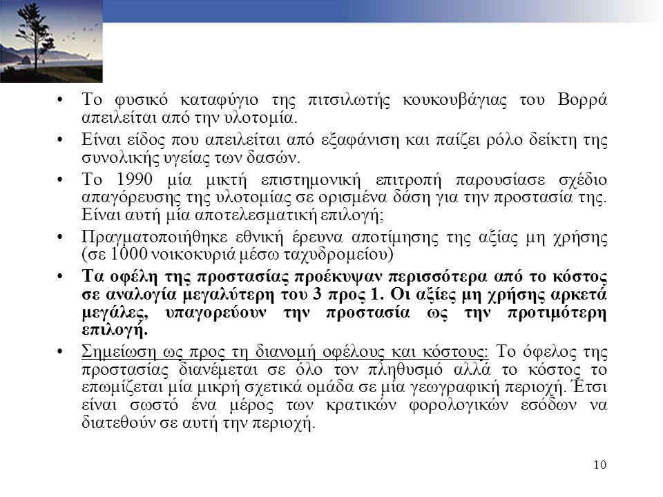 10 Το φυσικό καταφύγιο της πιτσιλωτής κουκουβάγιας του Βορρά απειλείται από την υλοτομία. Είναι είδος που απειλείται από εξαφάνιση και παίζει ρόλο δεί