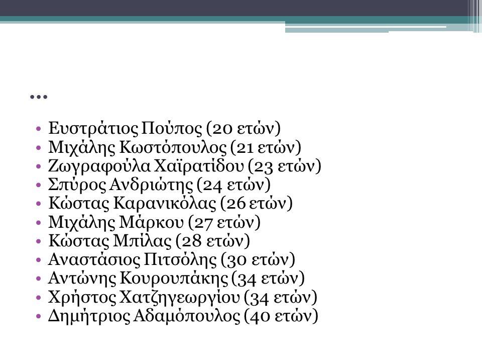 … Ευστράτιος Πούπος (20 ετών) Μιχάλης Κωστόπουλος (21 ετών) Ζωγραφούλα Χαϊρατίδου (23 ετών) Σπύρος Ανδριώτης (24 ετών) Κώστας Καρανικόλας (26 ετών) Μιχάλης Μάρκου (27 ετών) Κώστας Μπίλας (28 ετών) Αναστάσιος Πιτσόλης (30 ετών) Αντώνης Κουρουπάκης (34 ετών) Χρήστος Χατζηγεωργίου (34 ετών) Δημήτριος Αδαμόπουλος (40 ετών)