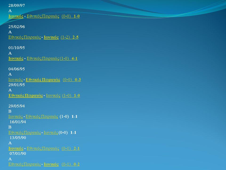 28/09/97 Α Ιωνικός - Εθνικός Πειραιώς (0-0) 1-0 25/02/96 Α Εθνικός Πειραιώς - Ιωνικός (1-2) 2-5 01/10/95 Α Ιωνικός - Εθνικός Πειραιώς (1-0) 4-1 04/06/