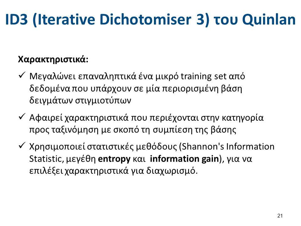 ID3 (Iterative Dichotomiser 3) του Quinlan Χαρακτηριστικά: Μεγαλώνει επαναληπτικά ένα μικρό training set από δεδομένα που υπάρχουν σε μία περιορισμένη βάση δειγμάτων στιγμιοτύπων Αφαιρεί χαρακτηριστικά που περιέχονται στην κατηγορία προς ταξινόμηση με σκοπό τη συμπίεση της βάσης Χρησιμοποιεί στατιστικές μεθόδους (Shannon s Information Statistic, μεγέθη entropy και information gain), για να επιλέξει χαρακτηριστικά για διαχωρισμό.