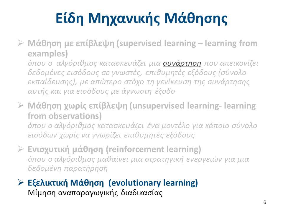 Τεχνικές Μάθησης με επίβλεψη Επαγωγική μάθηση:  Μάθηση με Δένδρα Απόφασης  Νευρωνικά Δίκτυα,  Μάθηση κανόνων,  Μάθηση κατά Bayes,  Μάθηση βασισμένη σε περιπτώσεις,  ………… 7