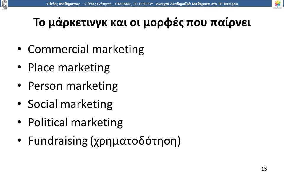 1313 -,, ΤΕΙ ΗΠΕΙΡΟΥ - Ανοιχτά Ακαδημαϊκά Μαθήματα στο ΤΕΙ Ηπείρου Commercial marketing Place marketing Person marketing Social marketing Political marketing Fundraising (χρηματοδότηση) 13