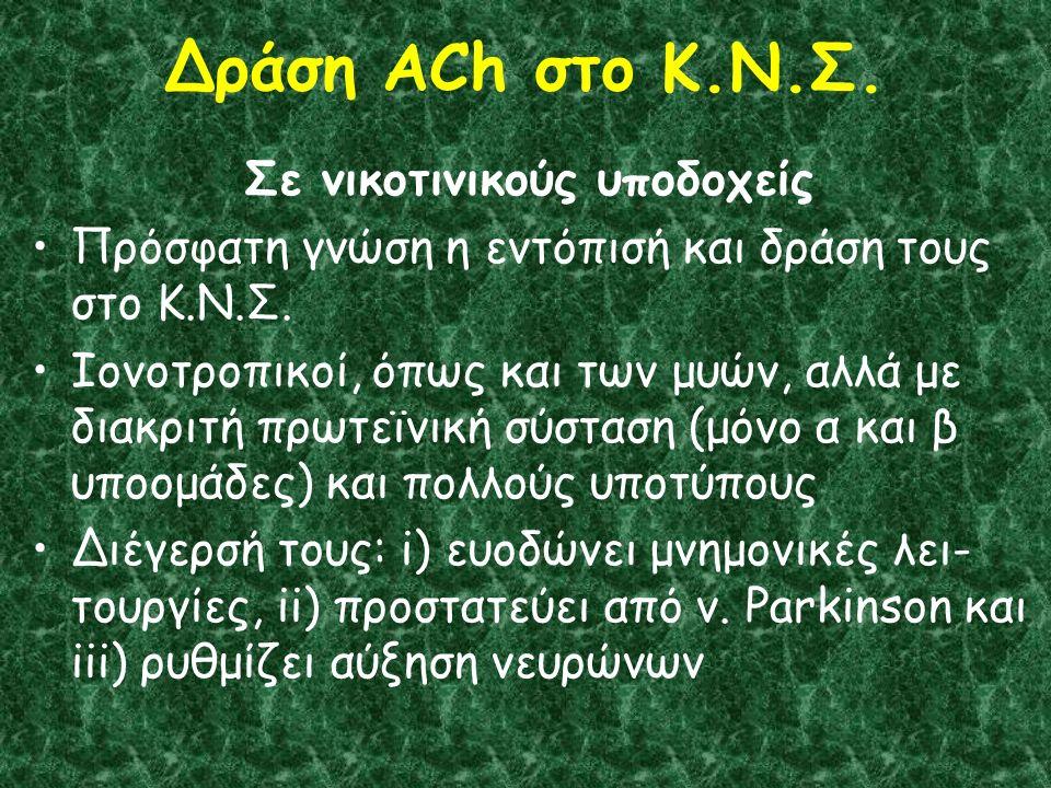 Δράση ACh στο Κ.Ν.Σ. Σε νικοτινικούς υποδοχείς Πρόσφατη γνώση η εντόπισή και δράση τους στο Κ.Ν.Σ.