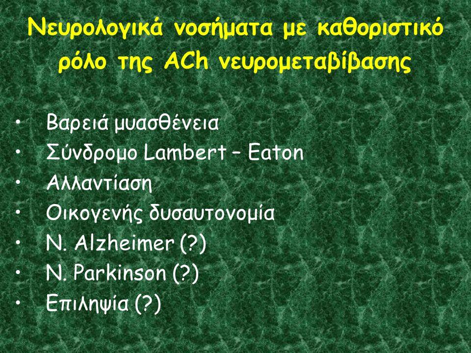 Νευρολογικά νοσήματα με καθοριστικό ρόλο της ACh νευρομεταβίβασης Βαρειά μυασθένεια Σύνδρομο Lambert – Eaton Αλλαντίαση Οικογενής δυσαυτονομία Ν.