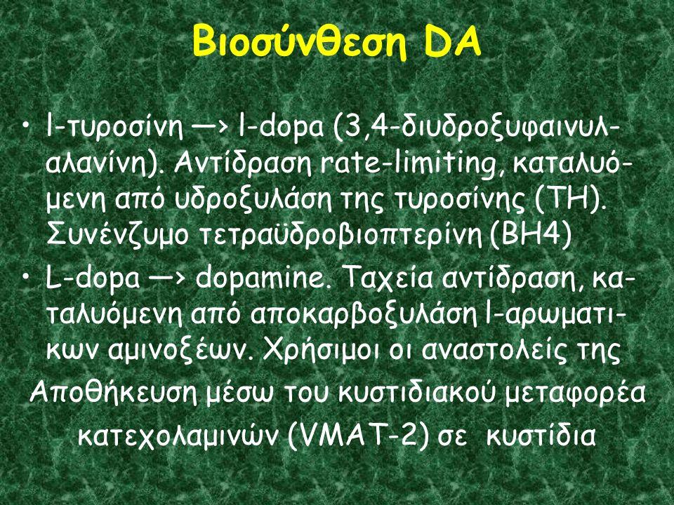 Βιοσύνθεση DA l-τυροσίνη —› l-dopa (3,4-διυδροξυφαινυλ- αλανίνη).