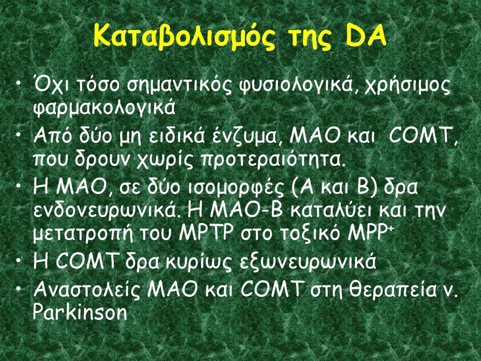 Καταβολισμός της DA Όχι τόσο σημαντικός φυσιολογικά, χρήσιμος φαρμακολογικά Από δύο μη ειδικά ένζυμα, MAO και COMT, που δρουν χωρίς προτεραιότητα.