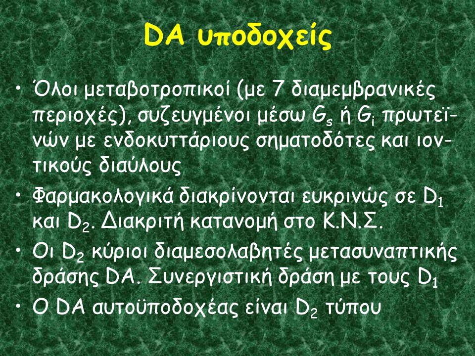 DA υποδοχείς Όλοι μεταβοτροπικοί (με 7 διαμεμβρανικές περιοχές), συζευγμένοι μέσω G s ή G i πρωτεϊ- νών με ενδοκυττάριους σηματοδότες και ιον- τικούς διαύλους Φαρμακολογικά διακρίνονται ευκρινώς σε D 1 και D 2.