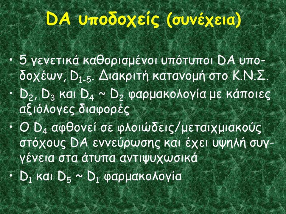 DA υποδοχείς (συνέχεια) 5 γενετικά καθορισμένοι υπότυποι DA υπο- δοχέων, D 1-5.