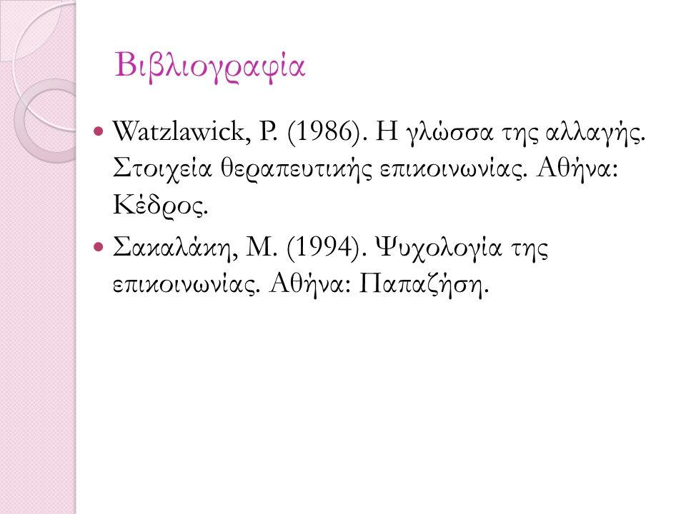 Βιβλιογραφία Watzlawick, P. (1986). Η γλώσσα της αλλαγής. Στοιχεία θεραπευτικής επικοινωνίας. Αθήνα: Κέδρος. Σακαλάκη, Μ. (1994). Ψυχολογία της επικοι
