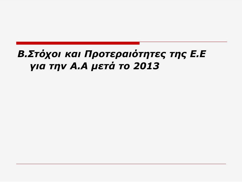 B.Στόχοι και Προτεραιότητες της E.E για την Α.Α μετά το 2013