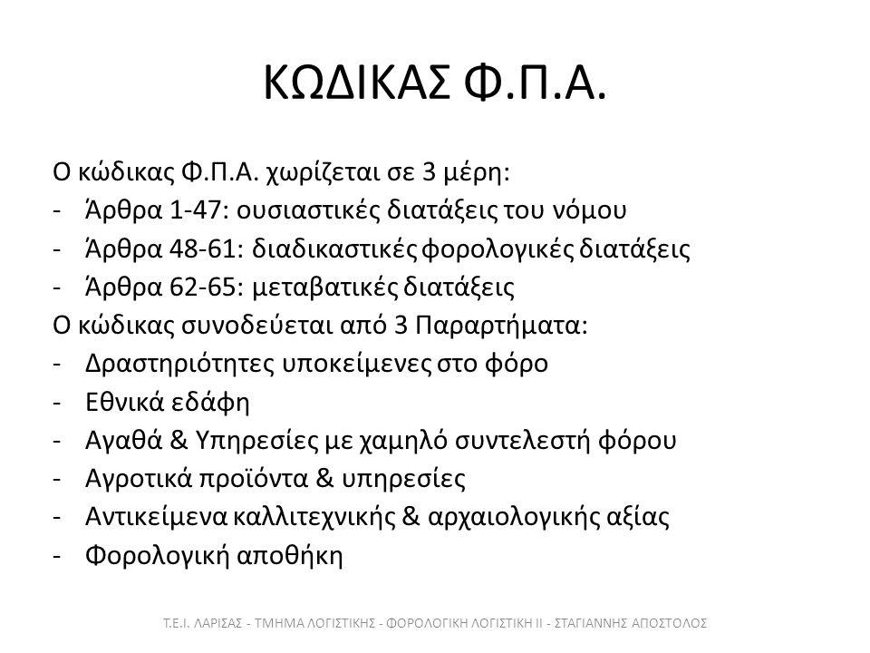 Παραδείγματα Άρθρων 1 - 9 Τ.Ε.Ι.