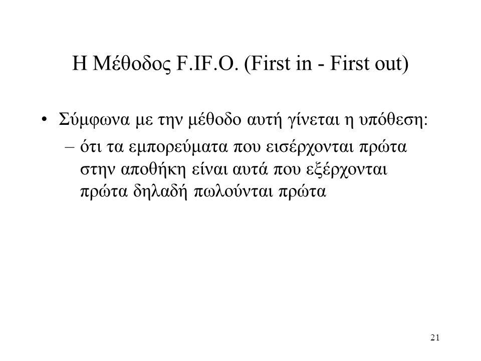 21 Η Μέθοδος F.IF.O. (First in - First out) Σύμφωνα με την μέθοδο αυτή γίνεται η υπόθεση: –ότι τα εμπορεύματα που εισέρχονται πρώτα στην αποθήκη είναι