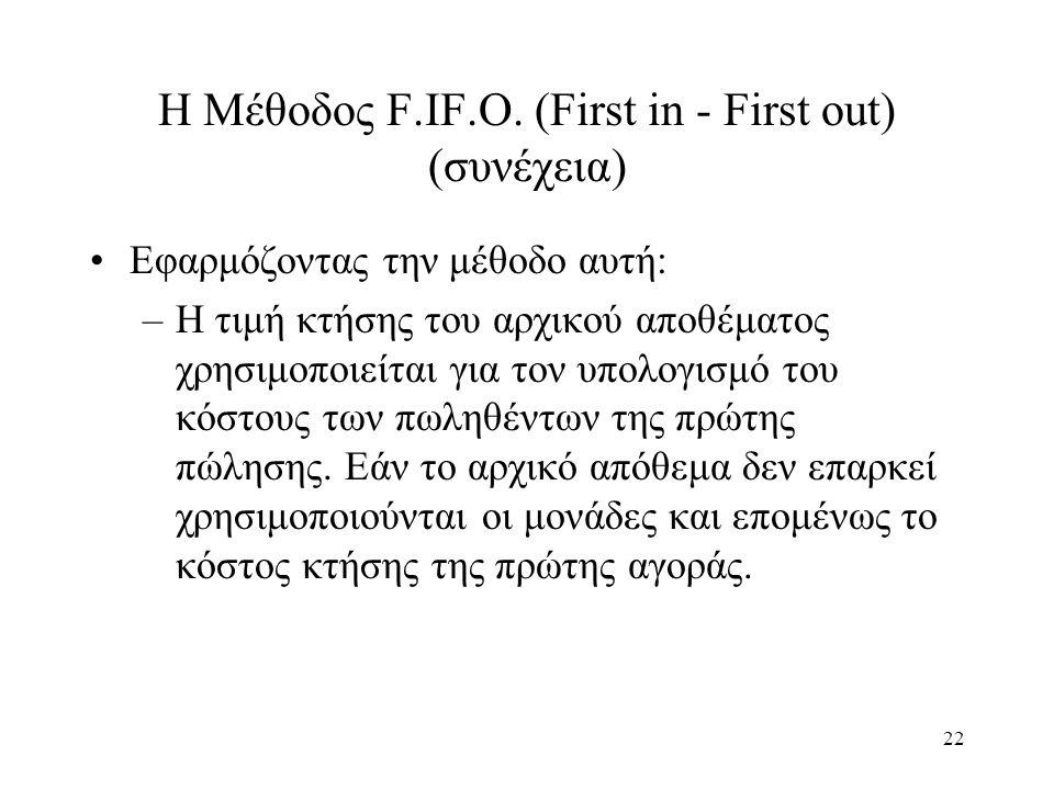22 Η Μέθοδος F.IF.O. (First in - First out) (συνέχεια) Εφαρμόζοντας την μέθοδο αυτή: –Η τιμή κτήσης του αρχικού αποθέματος χρησιμοποιείται για τον υπο