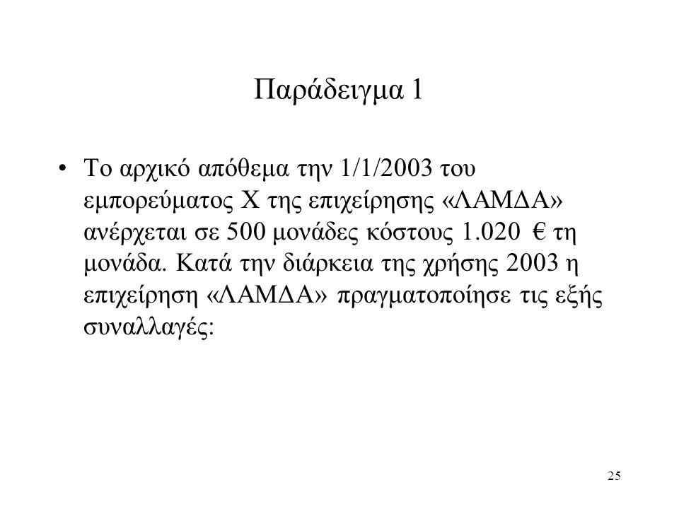 25 Παράδειγμα 1 Το αρχικό απόθεμα την 1/1/2003 του εμπορεύματος Χ της επιχείρησης «ΛΑΜΔΑ» ανέρχεται σε 500 μονάδες κόστους 1.020 € τη μονάδα. Κατά την