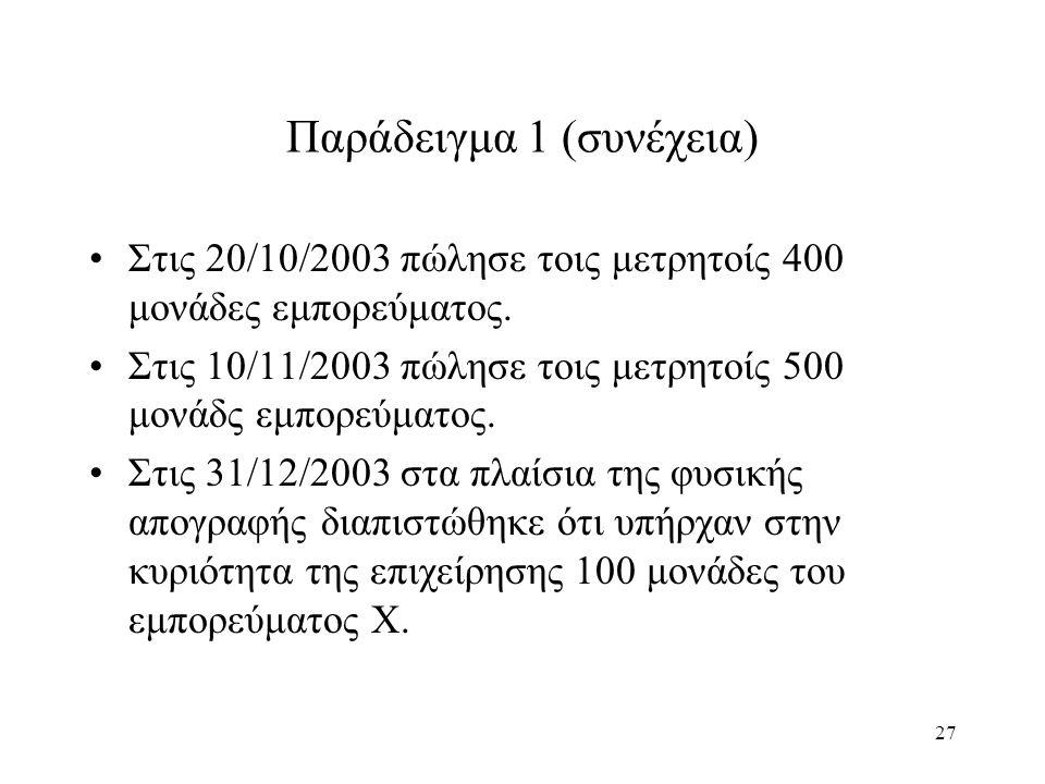 27 Παράδειγμα 1 (συνέχεια) Στις 20/10/2003 πώλησε τοις μετρητοίς 400 μονάδες εμπορεύματος. Στις 10/11/2003 πώλησε τοις μετρητοίς 500 μονάδς εμπορεύματ