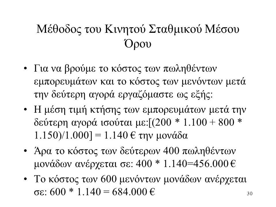 30 Μέθοδος του Κινητού Σταθμικού Μέσου Όρου Για να βρούμε το κόστος των πωληθέντων εμπορευμάτων και το κόστος των μενόντων μετά την δεύτερη αγορά εργαζόμαστε ως εξής: Η μέση τιμή κτήσης των εμπορευμάτων μετά την δεύτερη αγορά ισούται με:[(200 * 1.100 + 800 * 1.150)/1.000] = 1.140 € την μονάδα Άρα το κόστος των δεύτερων 400 πωληθέντων μονάδων ανέρχεται σε: 400 * 1.140=456.000 € Το κόστος των 600 μενόντων μονάδων ανέρχεται σε: 600 * 1.140 = 684.000 €