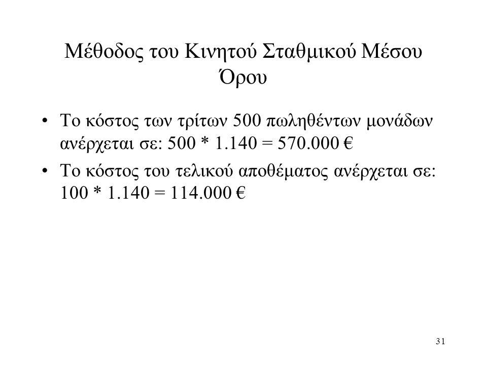 31 Μέθοδος του Κινητού Σταθμικού Μέσου Όρου Το κόστος των τρίτων 500 πωληθέντων μονάδων ανέρχεται σε: 500 * 1.140 = 570.000 € Το κόστος του τελικού αποθέματος ανέρχεται σε: 100 * 1.140 = 114.000 €