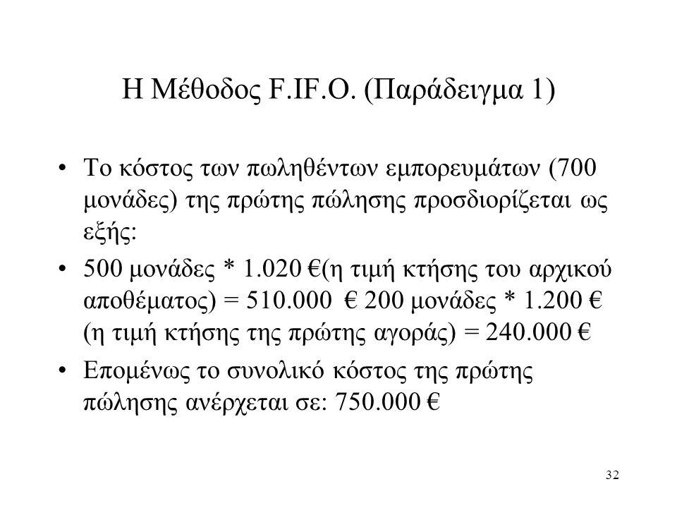 32 Η Μέθοδος F.IF.O. (Παράδειγμα 1) Το κόστος των πωληθέντων εμπορευμάτων (700 μονάδες) της πρώτης πώλησης προσδιορίζεται ως εξής: 500 μονάδες * 1.020