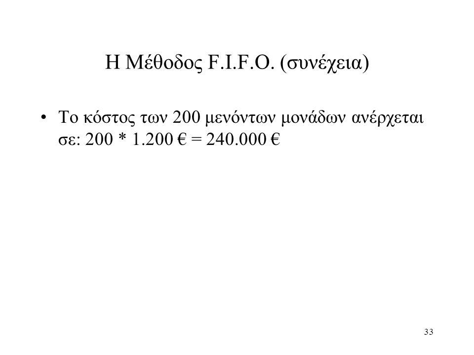 33 Η Μέθοδος F.I.F.O. (συνέχεια) Το κόστος των 200 μενόντων μονάδων ανέρχεται σε: 200 * 1.200 € = 240.000 €
