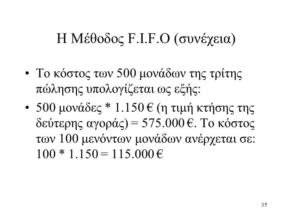 35 Η Μέθοδος F.I.F.O (συνέχεια) Το κόστος των 500 μονάδων της τρίτης πώλησης υπολογίζεται ως εξής: 500 μονάδες * 1.150 € (η τιμή κτήσης της δεύτερης αγοράς) = 575.000 €.
