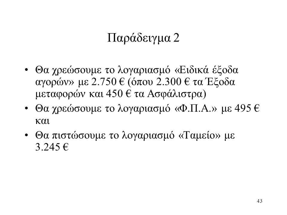 43 Παράδειγμα 2 Θα χρεώσουμε το λογαριασμό «Ειδικά έξοδα αγορών» με 2.750 € (όπου 2.300 € τα Έξοδα μεταφορών και 450 € τα Ασφάλιστρα) Θα χρεώσουμε το