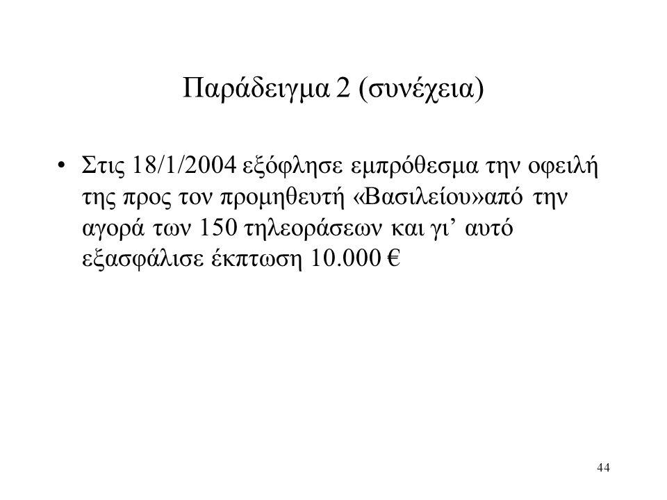 44 Παράδειγμα 2 (συνέχεια) Στις 18/1/2004 εξόφλησε εμπρόθεσμα την οφειλή της προς τον προμηθευτή «Βασιλείου»από την αγορά των 150 τηλεοράσεων και γι' αυτό εξασφάλισε έκπτωση 10.000 €