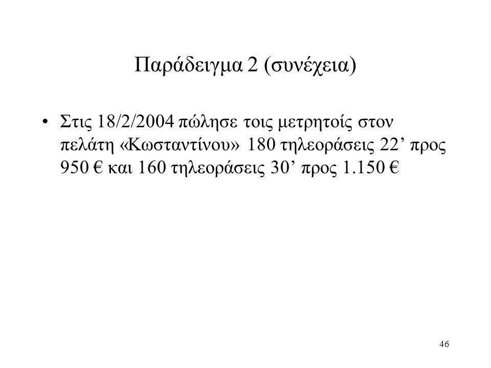 46 Παράδειγμα 2 (συνέχεια) Στις 18/2/2004 πώλησε τοις μετρητοίς στον πελάτη «Κωσταντίνου» 180 τηλεοράσεις 22' προς 950 € και 160 τηλεοράσεις 30' προς