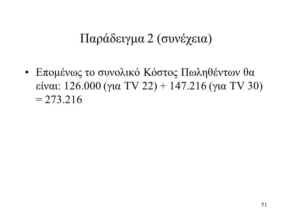 51 Παράδειγμα 2 (συνέχεια) Επομένως το συνολικό Κόστος Πωληθέντων θα είναι: 126.000 (για TV 22) + 147.216 (για TV 30) = 273.216