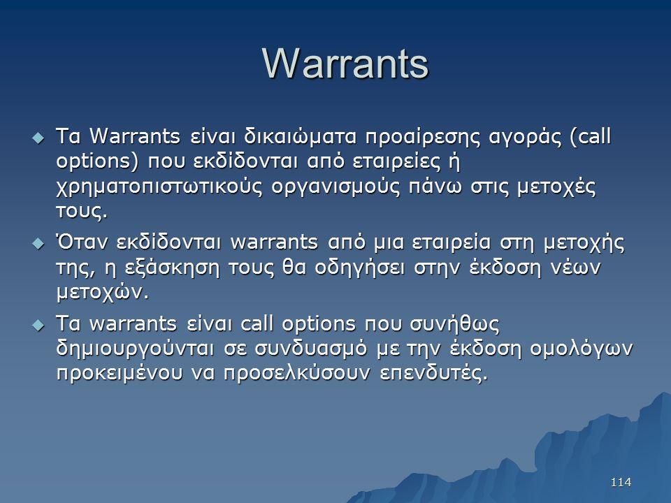 Warrants  Τα Warrants είναι δικαιώματα προαίρεσης αγοράς (call options) που εκδίδονται από εταιρείες ή χρηματοπιστωτικούς οργανισμούς πάνω στις μετοχές τους.