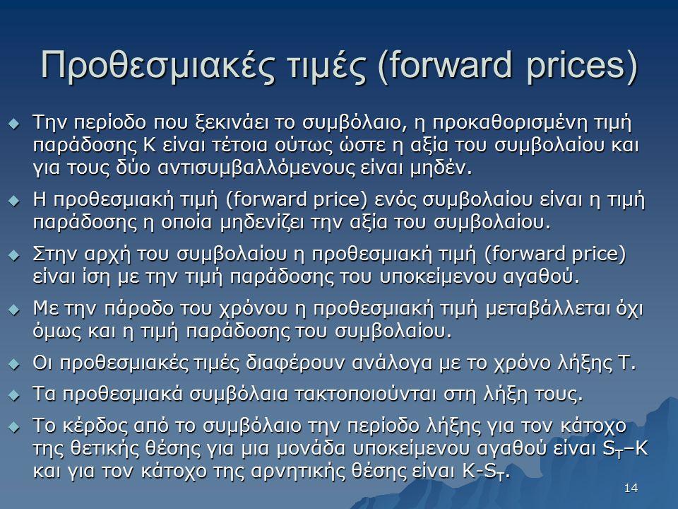 Προθεσμιακές τιμές (forward prices)  Την περίοδο που ξεκινάει το συμβόλαιο, η προκαθορισμένη τιμή παράδοσης Κ είναι τέτοια ούτως ώστε η αξία του συμβ