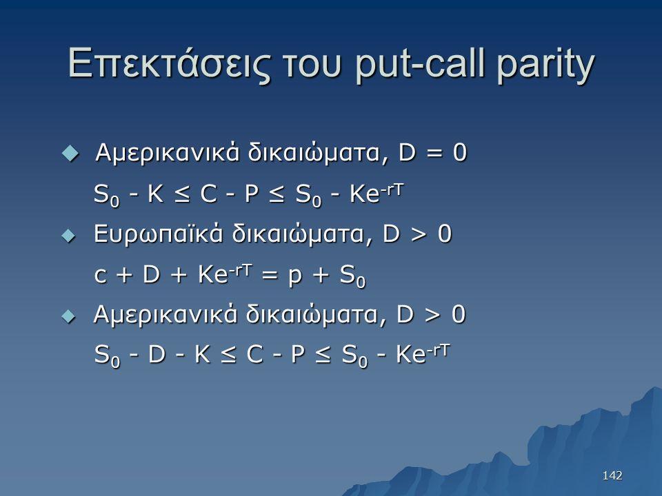 Επεκτάσεις του put-call parity  Αμερικανικά δικαιώματα, D = 0 S 0 - K ≤ C - P ≤ S 0 - Ke -rT S 0 - K ≤ C - P ≤ S 0 - Ke -rT  Ευρωπαϊκά δικαιώματα, D > 0 c + D + Ke -rT = p + S 0 c + D + Ke -rT = p + S 0  Αμερικανικά δικαιώματα, D > 0 S 0 - D - K ≤ C - P ≤ S 0 - Ke -rT S 0 - D - K ≤ C - P ≤ S 0 - Ke -rT 142
