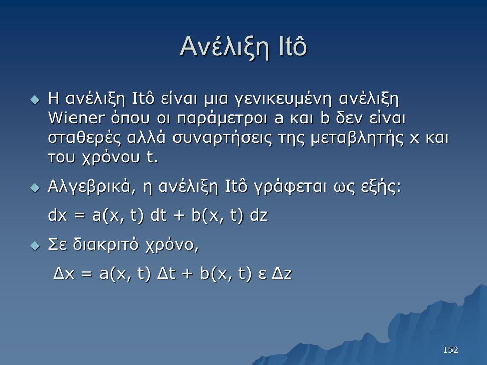 Ανέλιξη Itô  Η ανέλιξη Itô είναι μια γενικευμένη ανέλιξη Wiener όπου οι παράμετροι a και b δεν είναι σταθερές αλλά συναρτήσεις της μεταβλητής x και τ