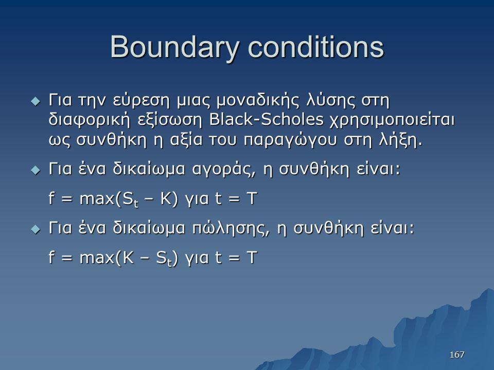 Boundary conditions  Για την εύρεση μιας μοναδικής λύσης στη διαφορική εξίσωση Black-Scholes χρησιμοποιείται ως συνθήκη η αξία του παραγώγου στη λήξη.