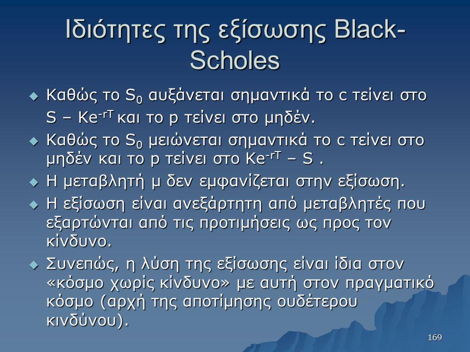 Ιδιότητες της εξίσωσης Black- Scholes  Καθώς το S 0 αυξάνεται σημαντικά το c τείνει στο S – Ke -rT και το p τείνει στο μηδέν.  Καθώς το S 0 μειώνετα