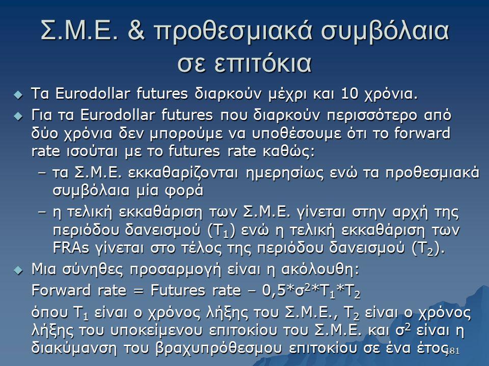 Σ.Μ.Ε. & προθεσμιακά συμβόλαια σε επιτόκια  Τα Eurodollar futures διαρκούν μέχρι και 10 χρόνια.  Για τα Eurodollar futures που διαρκούν περισσότερο
