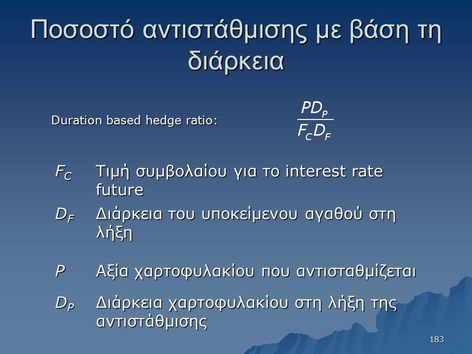 Ποσοστό αντιστάθμισης με βάση τη διάρκεια Duration based hedge ratio: FCFCFCFC Τιμή συμβολαίου για το interest rate future DFDFDFDF Διάρκεια του υποκείμενου αγαθού στη λήξη P Αξία χαρτοφυλακίου που αντισταθμίζεται DPDPDPDP Διάρκεια χαρτοφυλακίου στη λήξη της αντιστάθμισης 183