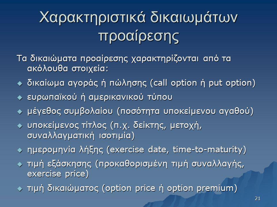 Χαρακτηριστικά δικαιωμάτων προαίρεσης Τα δικαιώματα προαίρεσης χαρακτηρίζονται από τα ακόλουθα στοιχεία:  δικαίωμα αγοράς ή πώλησης (call option ή put option)  ευρωπαϊκού ή αμερικανικού τύπου  μέγεθος συμβολαίου (ποσότητα υποκείμενου αγαθού)  υποκείμενος τίτλος (π.χ.