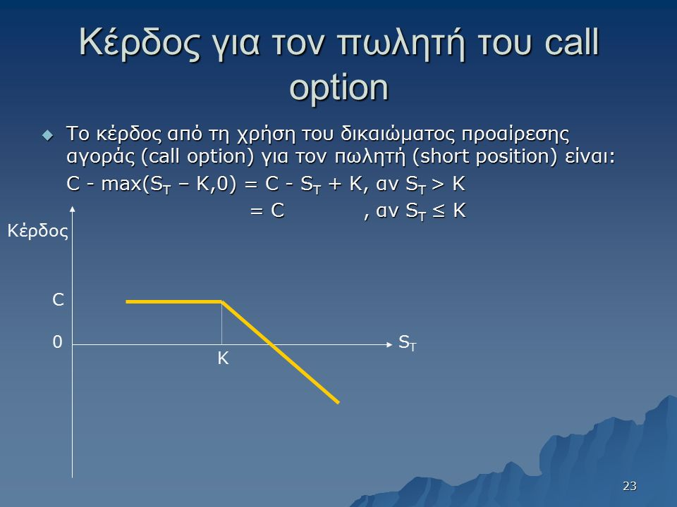 Κέρδος για τον πωλητή του call option  Το κέρδος από τη χρήση του δικαιώματος προαίρεσης αγοράς (call option) για τον πωλητή (short position) είναι: