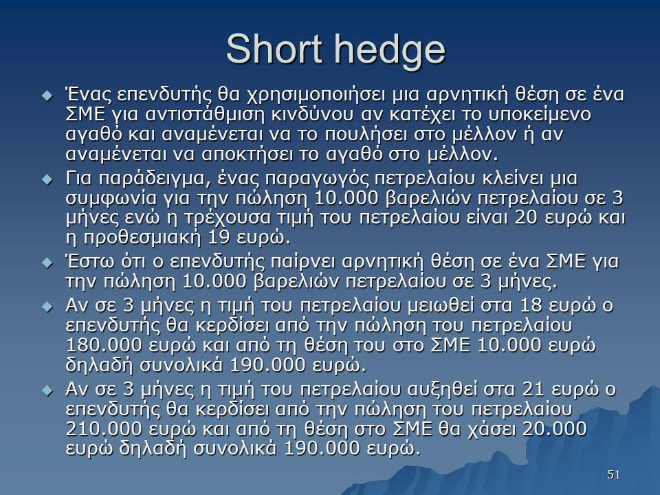 Short hedge  Ένας επενδυτής θα χρησιμοποιήσει μια αρνητική θέση σε ένα ΣΜΕ για αντιστάθμιση κινδύνου αν κατέχει το υποκείμενο αγαθό και αναμένεται να το πουλήσει στο μέλλον ή αν αναμένεται να αποκτήσει το αγαθό στο μέλλον.
