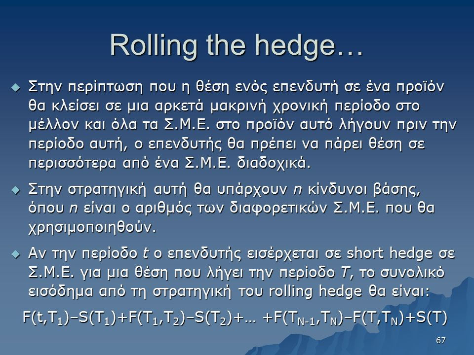 Rolling the hedge…  Στην περίπτωση που η θέση ενός επενδυτή σε ένα προϊόν θα κλείσει σε μια αρκετά μακρινή χρονική περίοδο στο μέλλον και όλα τα Σ.Μ.Ε.