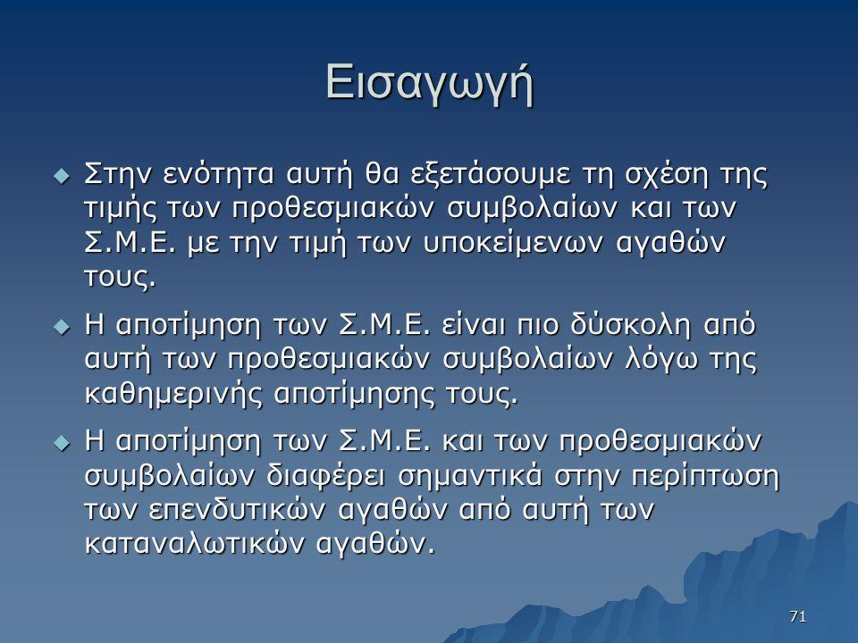 Εισαγωγή  Στην ενότητα αυτή θα εξετάσουμε τη σχέση της τιμής των προθεσμιακών συμβολαίων και των Σ.Μ.Ε. με την τιμή των υποκείμενων αγαθών τους.  Η
