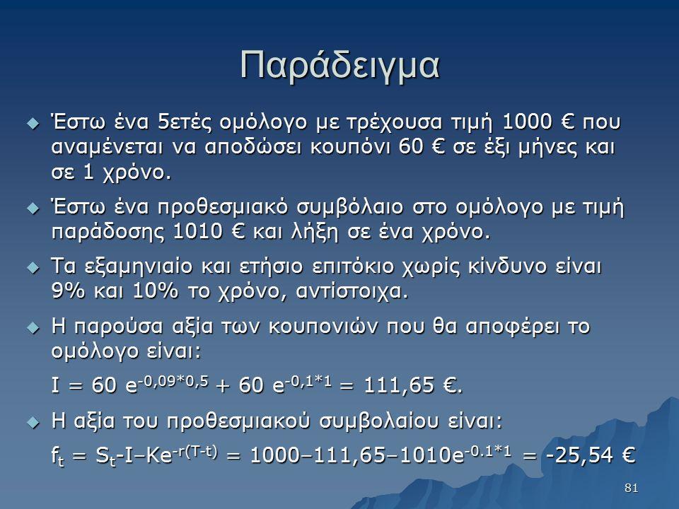 Παράδειγμα  Έστω ένα 5ετές ομόλογο με τρέχουσα τιμή 1000 € που αναμένεται να αποδώσει κουπόνι 60 € σε έξι μήνες και σε 1 χρόνο.  Έστω ένα προθεσμιακ